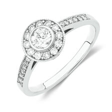 Online Exclusive - Halo Ring with 1/2 Carat TW of Diamonds in 18ct White Gold
