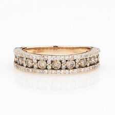 ONLINE EXCLUSIVE - Multistone Ring with 0.89 Carat Total Weight of White & Enhanced Brown Diamonds in 10ct Yellow Gold