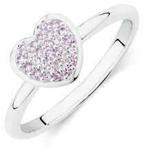 Purple Cubic Zirconia Heart Ring