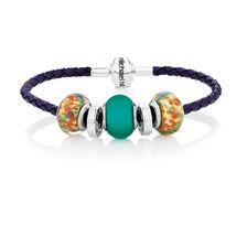 Sterling Silver & Green Glass Charm Bracelet