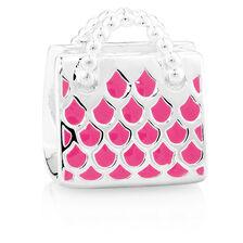 Sterling Silver & Hot Pink Enamel Handbag Charm