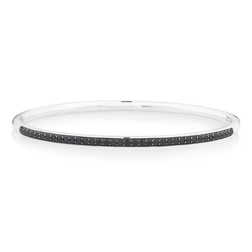 Bangle with Black Cubic Zirconia in Sterling Silver