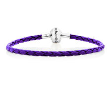 "Purple Leather 19cm (7.5"") Charm Bracelet"