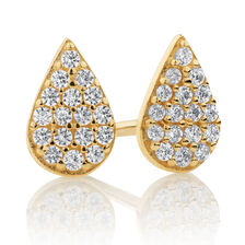 Pear Stud Earrings with Cubic Zirconia in 10ct Yellow Gold