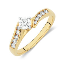 Side Accent Ring with 1/2 Carat TW of Round Brilliant Diamonds in 18ct Yellow and White Gold
