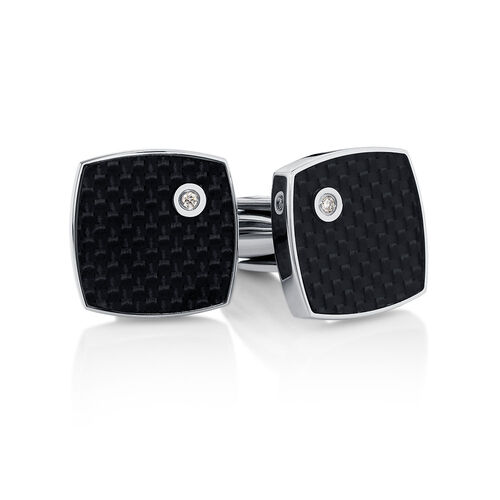 Men's Cuff Links with Diamonds in Stainless Steel