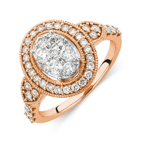 Engagement Ring with 1 Carat TW of Diamonds in 14kt Rose Gold