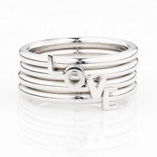 Online Exclusive - Love' Stacker Ring in Sterling Silver