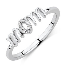 Mom Ring with Diamonds in Sterling Silver