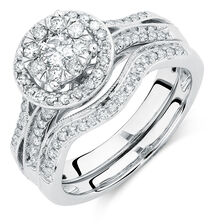 Bridal Set with 3/4 Carat TW of Diamonds in 14ct White Gold