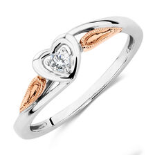 Promise Ring with Diamonds in 10ct White & Rose Gold