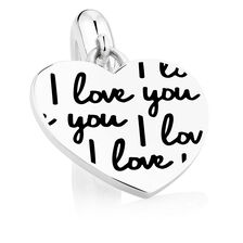 I Love You' Heart Dangle Charm in Sterling Silver
