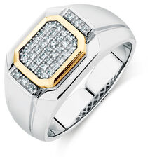 Men's Ring with 0.16 Carat TW of Diamonds in 10ct Yellow Gold & Sterling Silver