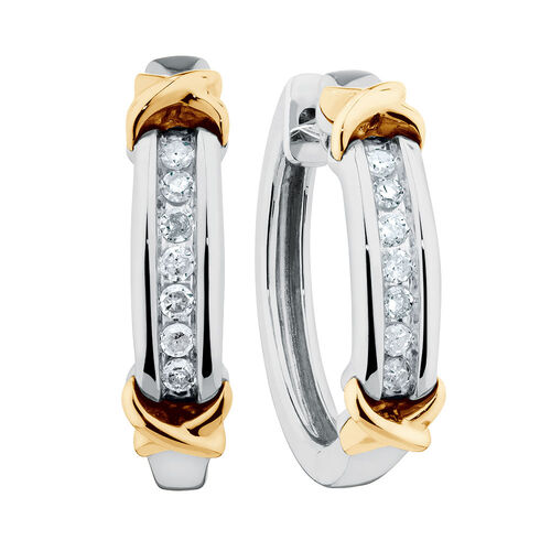 Hoop Earrings with Diamonds in Sterling Silver & 10kt Yellow Gold