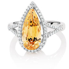 Ring with Amber & White Cubic Zirconias in Sterling Silver