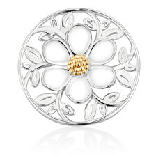 Daisy Coin Locket Insert in Sterling Silver & 10ct Yellow Gold