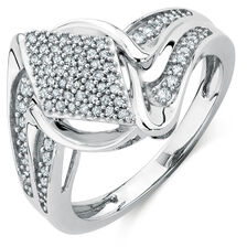 Ring with 0.35 Carat TW of Diamonds in 10ct White Gold