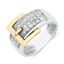 Buckle Ring with 0.33 Carat TW of Diamonds in 10ct White and Yellow Gold