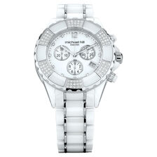Ladies Chronograph Watch with 3/4 Carat TW of Diamonds in White Ceramic & Stainless Steel