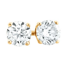 Stud Earrings with 1/2 TW of Diamonds in 18ct Yellow Gold
