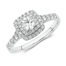 Evermore Colourless Engagement Ring with 3/4 Carat TW of Diamonds in 14kt White Gold