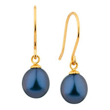 Drop Earrings with Black Cultured Freshwater Pearl in 10ct Yellow Gold