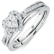 Promises of Love Bridal Set with 0.33 Carat TW of Diamonds in 10ct White Gold