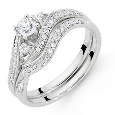 Bridal Set with 1/2 Carat TW of Diamonds in 18ct White Gold