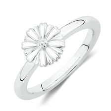 Flower Stacker Ring with White Enamel in Sterling Silver