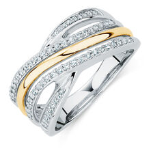 Crossover Ring with a 1/4 Carat TW of Diamonds in Sterling Silver & 10ct Yellow Gold