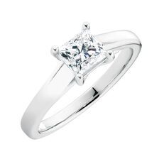 Ideal Cut Solitaire Engagement Ring with a 1 Carat Diamond in 14kt White Gold & Platinum