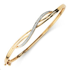 Hinged Bangle with 0.15 Carat TW of Diamonds in 10ct Yellow Gold