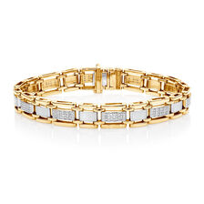 Men's Bracelet with 1/2 Carat TW of Diamonds in 10ct Yellow Gold