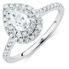Michael Hill Designer GrandArpeggio Engagement Ring with 1 1/5 Carat TW of Diamonds in 14kt White Gold
