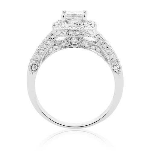 Engagement Ring with 0.84 Carat TW of Diamonds in 14kt White Gold