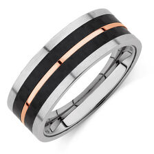 Men's Ring in Black & Rose Plated Stainless Steel