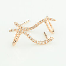 Online Exclusive - Bar Earrings with Diamonds in 10ct Rose Gold