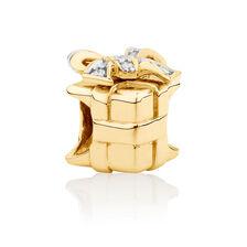 Diamond Set Present Charm in 10kt Yellow Gold