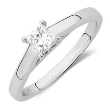 Ideal Cut Solitaire Engagement Ring with a 1/2 Carat Diamond in Platinum