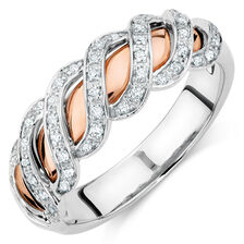 Ring with 0.20 Carat of Diamonds in 10ct White & Rose Gold