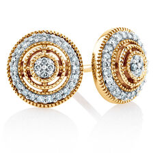 Online Exclusive - Halo Stud Earrings with 0.20 Carat of Diamonds in 10ct Yellow Gold