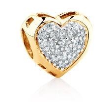 Heart Charm with 1/4 Carat TW of Diamonds in 10ct Yellow Gold