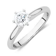 Certified Solitaire Engagement Ring with a 0.69 Carat TW Diamond in 18ct White Gold