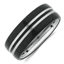 Men's Ring with Black Stripe in Tungsten Air