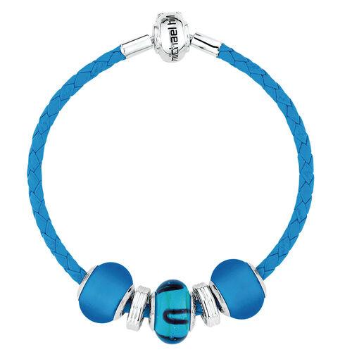 Blue Glass & Sterling Silver Starter Charm Bracelet