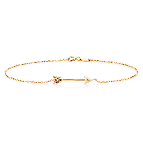 "19cm (7.5"") Arrow Bracelet in 10ct Yellow Gold"