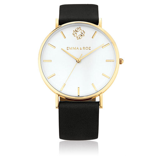 Gold Tone Stainless Steel Watch with Black Leather