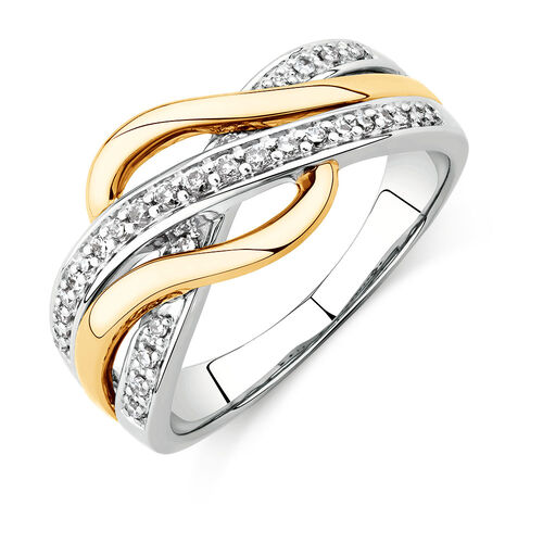 Swirl Ring with 1/5 Carat TW of Diamonds in Sterling Silver & 10kt Yellow Gold