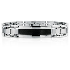 "Men's 21cm (8.5"") Bracelet in Black Carbon Fibre & Stainless Steel"