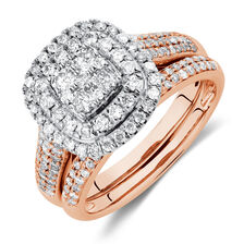 Bridal Set with 1 Carat TW of Diamonds in 14kt Rose & White Gold